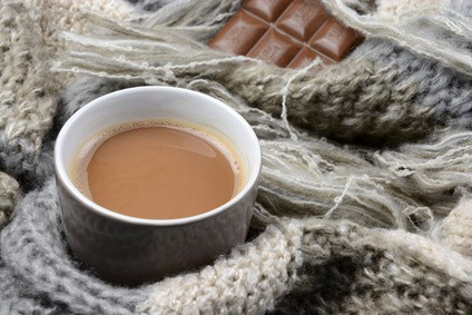 drink hot chocolate when it's cold outside